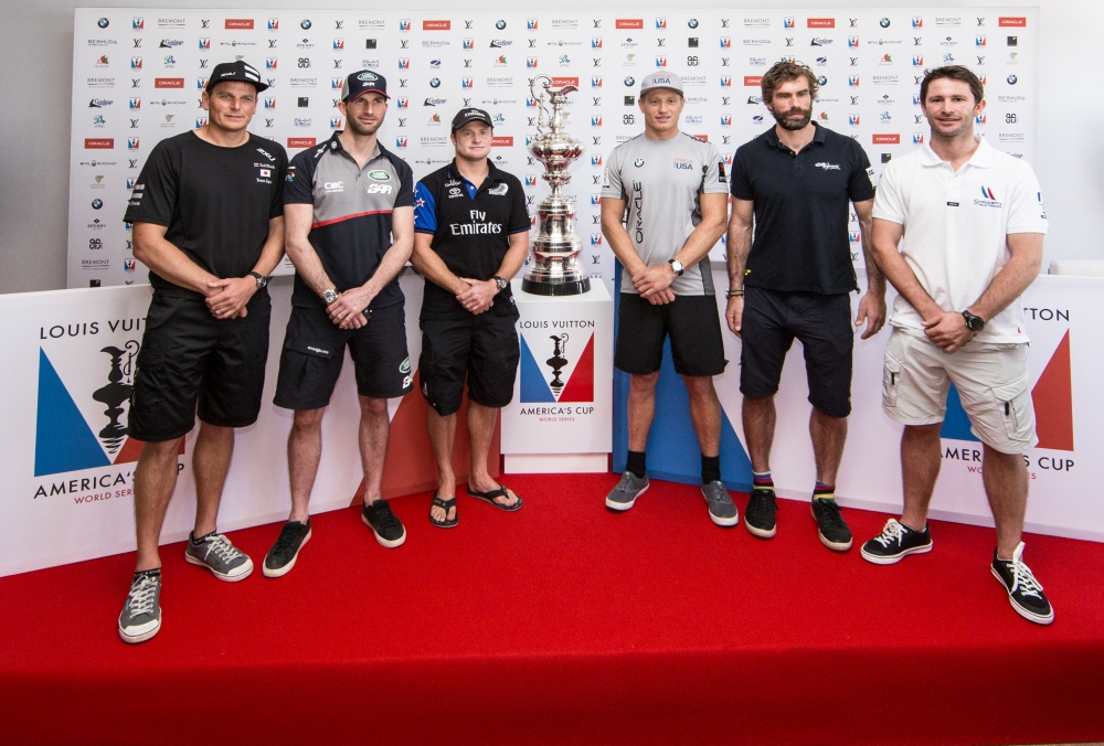 America's Cup arrives in Muscat.Official opening press conference.Dean Barker, Ben Ainslie,Glenn, Ashby,Jimmy Spithill,Iain Percy,Adam Minoprio .Louis Vuitton America's Cup World Series Oman 2016. Muscat ,The Sultanate of Oman.Image licensed to Jesus Renedo/Lloyd images/Oman Sail