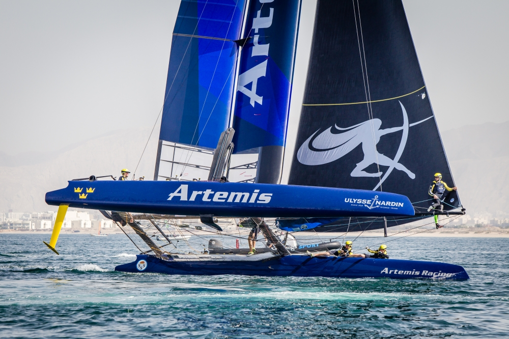 Louis Vuitton America's Cup World Series 2016 Oman. Practice race.Artemis Racing