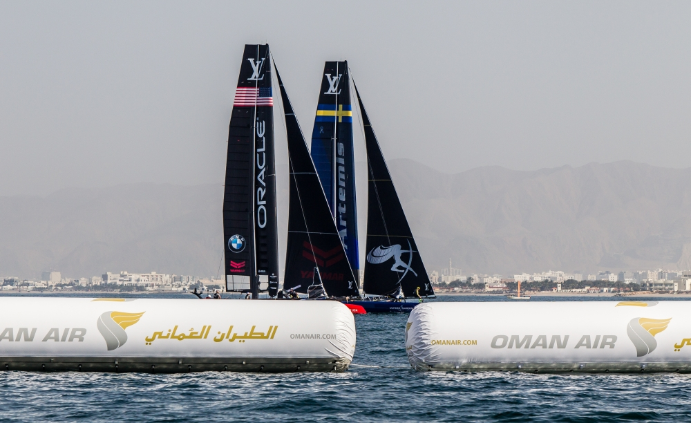 Louis Vuitton America's Cup World Series 2016 Oman. Practice race.Artemis Racing,Nathan Outteridge,Iain Percy,Luke Parkinson,Kalle Torlen,Chris Brittle. Muscat ,The Sultanate of Oman.Image licensed to Jesus Renedo/Lloyd images/Oman Sail